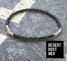 Dyed emerald mens bracelet, Mens emerald bracelet, Black green bracelet for men by DESERTDUSTMEN on Etsy