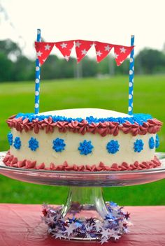 4th of july ombre cake