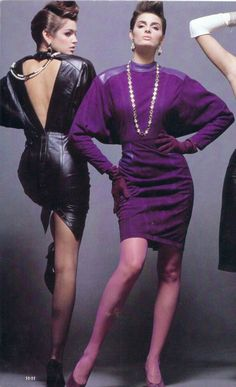 1980s •~• leather dresses with Dolman sleeves, classic 80s silhouette.