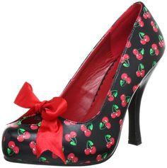Pleaser PinUp Couture CUTIEPIE-06 Damen Pumps, Schwarz (Blk-red pu (cherries print)), EU 41 (UK 8) (US 11)