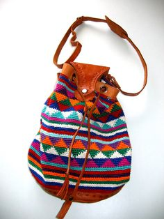 Boho, Hippie, drawstring bucket bag, handbag, purse, tote. Unique colorful bag with leather trim.  Sold on etsy.  I need to find a bag like this.