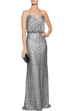 Badgley MischkaSequined tulle gown front