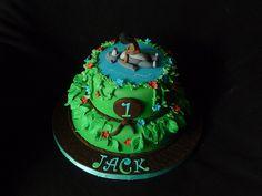 My grandson's first birthday cake..Jungle Book with Baloo and Mowgli