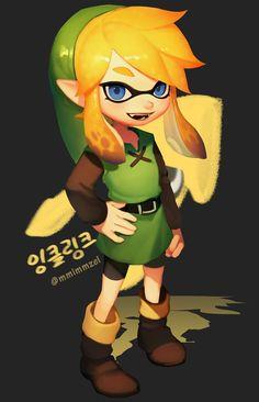 #Dessin #Illustration #Fanart #Splatoon #Cosplay #Link #Zelda par l'artiste mmimmzel #JeuVidéo