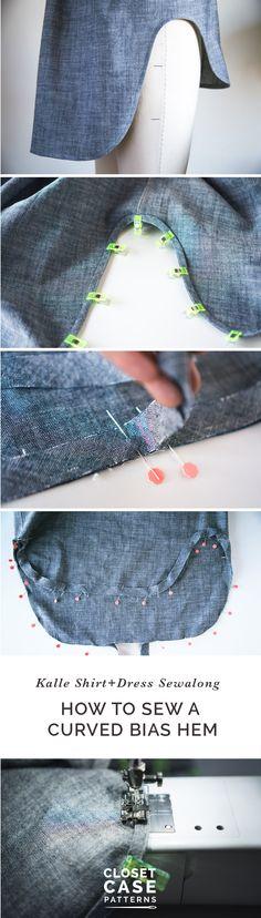 Finishing Curved Hem with Bias Tape & Sewing Side Seams // Kalle Sewalong https://closetcasepatterns.com/sewing-bias-hem-side-seams-kalle-sewalong/