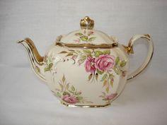 Teapot Sadler Square Cube Pink Cabbage Rose China Vintage Gold Tea pot #Sadler