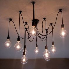 Vintage Retro Loft Ajustable DIY Spider Edison Bulb Black Chandeliers Hanging pendant Lamp Light Fixtures Industrial Lights