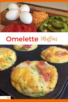 Omelette Muffins These make the best easy breakfast! Breakfast Items, Breakfast Dishes, Breakfast Recipes, Yummy Quick Breakfast Ideas, Perfect Breakfast, Best Breakfast Foods, Omelette Muffins, Breakfast Omelette, Omelette Recipe