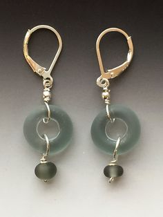 Lifesaver Earrings in White & Gray: handmade glass lampwork beads with sterling silver components