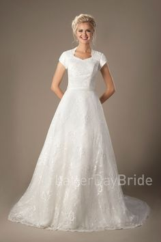 Henri   Modest Wedding Dress under $700   LatterDayBride & Prom   Salt Lake City   Utah   Worldwide Shipping   LDS   Mormon Wedding   A-line   Sweetheart neckline   Gown available in Ivory or White. *Gown pictured in Ivory.