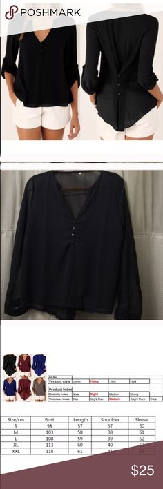 Black top 100% brand new and high quality  Two ways of wearing: back 3 buttons fastened to slim your waist back 3 buttons unfastened to switch to a much looser style- Leisure and comfy  Elegant and graceful, suitable for everyone  Occasion: Casual, office, conference, etc   Material: Chiffon Tops Blouses