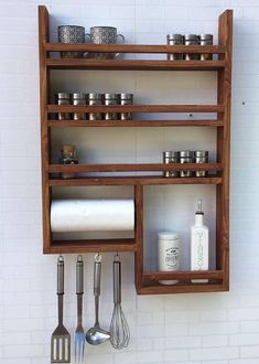 Kitchen Countertops Spice Rack with kitchen roll - Spice rack made of old wood with kitchen roll! 4 hooks, without decoration, very stable, with kitchen roll Kitchen Shelves, Diy Kitchen, Kitchen Decor, Kitchen Ideas, 10x10 Kitchen, Kitchen Storage, Kitchen Cabinets, Wooden Kitchen, Kitchen Racks