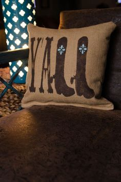 """Southern Inspired """"Y'All"""" Rustic Burlap Throw Pillow on Etsy, $29.99 reminds me of @Ashley Walters Walters S"""