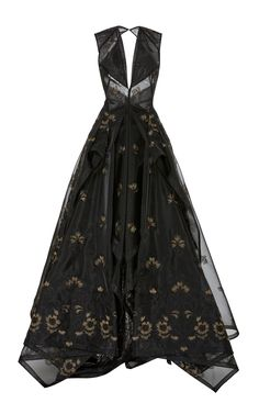 Guipure Lace V neck Gown by ZAC POSEN for Preorder on Moda Operandi