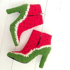 watermelon boots. by CoupleOf.   http://www.virtualshoemuseum.com/coupleof