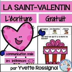 This FREE resource is similar to the 100 prompts in this best seller BUNDLE: 100 French Writing Prompts (Paperless or interactif notebook) Valentines Day Activities, Valentine Day Crafts, Valentine Nails, Writing Activities, Teaching Resources, Teaching Kindergarten, Teaching French Immersion, Communication Orale, Valentines Illustration