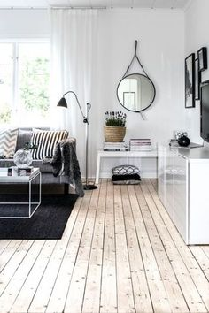 Modern Scandinavian Living Room Interior with Grey Sofa and White Furniture Home Interior, Living Room Interior, Home Living Room, Interior Architecture, Living Spaces, Interior Livingroom, Small Living, Kitchen Interior, Interior Ideas