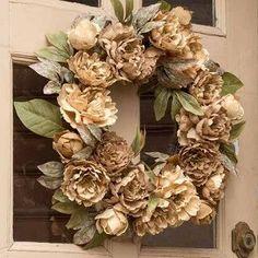 Burlap Peony Wreath