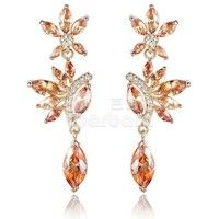 Barbara丨Fashion Plant Shape Drop Earrings with orange AAA Zircon for Women Anniversary 18K Gold Plated Jewelry