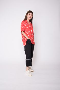 Bask in your favourite tropical vibes with this piece! Style it buttoned up as a top with a pair of wide-legged pants, or as an outerwear over your beach coordinates. Orange Shirt, Wide Leg Pants, Hawaiian, Casual Dresses, Coconut, Dressing, Shirts, Color, Tops