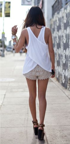 pantalones cortos de encaje