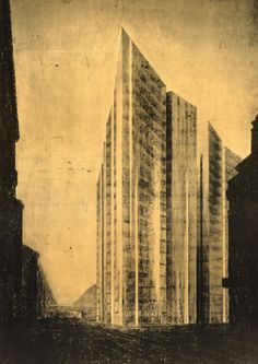 Friedrichstrasse Skyscraper Project, Berlin-Mitte, Germany, Exterior perspective from north, 1921, by Ludwig Mies van de Rohe