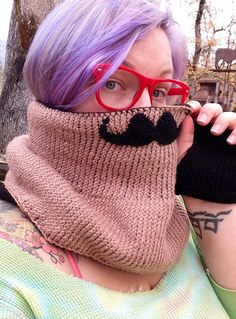 Grey cowl with mustache detail by BeckyHomeckey on Etsy