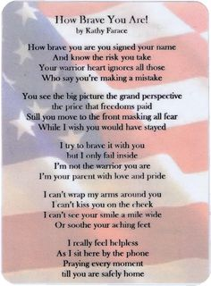 How Brave You Are Military Poem Card for Soldiers & Sailors