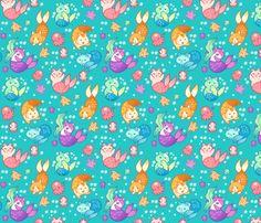 Cat Mermaids Teal fabric by aimee on Spoonflower - custom fabric