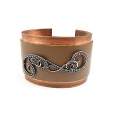 Wire wrap bangle, brown natural leather bracelet , wirework jewelry ,copper and sterling silver bangle