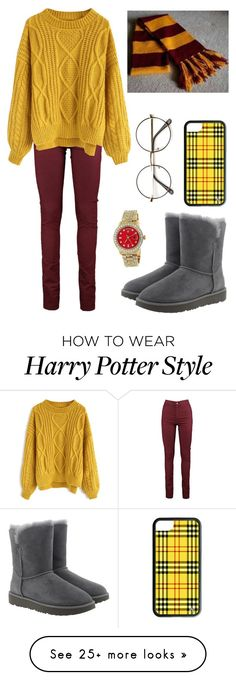 """Gryffindor Winter"" by theatrekid24601 on Polyvore featuring Chicwish, UGG and Rolex"