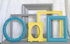 gray tan teal yellow | brown craft room | gray and teal decor | Home Decor / Yellow Grey Teal ...