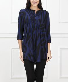 Loving this Navy & Black Abstract Notch Neck Tunic on #zulily! #zulilyfinds