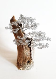 Driftwood sculpture, driftwood art , driftwood bonsai , wire tree sculpture , bonsai wire tree , metal sculpture , wire art , metal art. This amazing medium size bonsai wire tree sculpture on driftwood will give your home a strong emotion. I use about 70 meters stinless steel wire to made this sculpture. Perfect as a gift for any occasion for people who understands about quality and solidness. To make this wire tree takes about 75 hours for me. Its amazing interior decoration for your house…