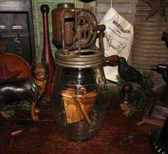 Primitive Antique Vtg Daisy Dazey Butter Churn Wood Paddles Pickle Jar Glass #NaivePrimitive