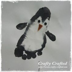 Footprint Penguin!! Paint the outside of the foot black and the inside white.. stamp it on the paper and use the thumb to create the wings~ http://www.crafty-crafted.com/animal-crafts/footprint-penguin/
