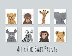 All 8 Zoo Baby Prints- Nursery Giclée Prints by EllaRoseDesign. Perfect decor for a nursery or child's bedroom! Many animals to choose from. Pick one or several to make a charming collection! Animals, Zebra, Lion, Cheetah, Elephant Giraffe, Rhino, Chimpanzee, Monkey, Orangutan, Safari, Jungle, Africa, Art, Giclee, Gender neutral nursery, Cut paper, illustration