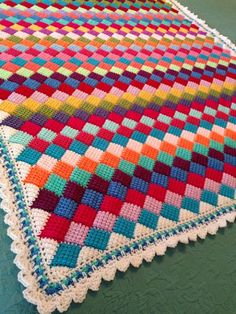 Tunisian Crochet Entrelac Throw - Free Pattern. Teens will love the bold colorful stripes used t...