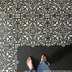 Anatolia Tile Stencil SKU Stencil Pattern Size: x Stencil Sheet Size: x Single Layer Design Our Anatolia Tile Stencil is a large tile stencil design inspired by the Turkish region and the beautiful tiles found there. Its boho chic design looks amazing Painting Tile Floors, Stencil Painting On Walls, Painting Concrete, Stenciled Concrete Floor, Painted Concrete Floors, Cement Floors, Decorative Concrete, Wood Floor, Large Stencils
