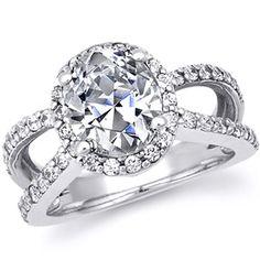 Split Shank Halo Oval Asha Engagement Ring