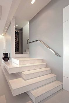 Awesome Stairs Design Home. Now we talk about stairs design ideas for home. In a basic sense, there are stairs to connect the floors Stairs And Staircase, Stair Handrail, House Stairs, Staircase Design, Staircases, Handrail Ideas, Stairway, Stair Design, White Stairs