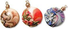 Polymer Clay Applique   simple polymer clay lentil swirl beads with romantic appliques ...