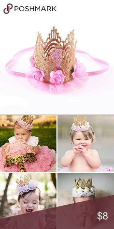 1 Year Birthday Crown Headband Pink and gold one year old birthday crown headband Accessories Hair Accessories