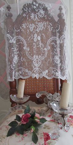 Crystal sconce and lace.