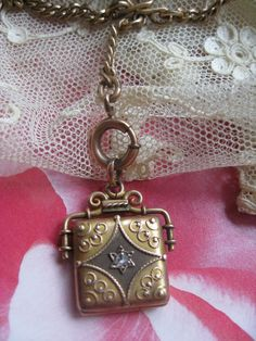 Victorian 10K Diamond Locket on Gold Fill Watch Chain Necklace