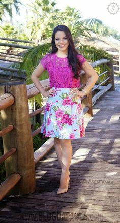 Look do Dia: Blusa de Renda e Saia de Pregas – Lemon Rosa | Blog da Paola