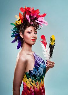 Laura Hollick as the Rainbow Bird Shaman. Hair & makeup by Sue Upton. Photography by Stephanie Bell.
