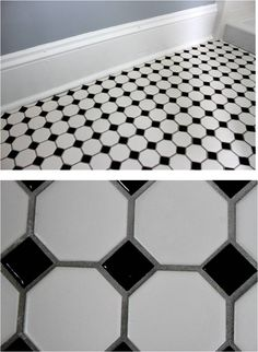 Black/white hexagon tile with gray grout to avoid scrubbing all that white grout all the time.