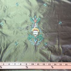 Yellow-Green Embroidered Silk Taffeta - Renaissance Fabrics