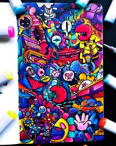 Just finished this crazy full page doodle! I decided to add Mr. Krabs in this one cuz he's a cool dude (not as cool as spongebob or… Graffiti Art, Wie Zeichnet Man Graffiti, Graffiti Doodles, Graffiti Cartoons, Graffiti Drawing, Marker Kunst, Marker Art, Doodle Art Drawing, Art Drawings Sketches